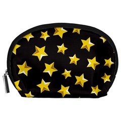 Yellow Stars Pattern Accessory Pouches (large)  by Sapixe