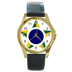 Roundel Of Brazilian Air Force Round Gold Metal Watch by abbeyz71