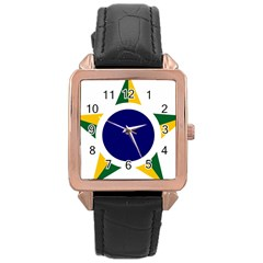 Roundel Of Brazilian Air Force Rose Gold Leather Watch  by abbeyz71