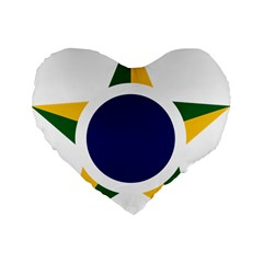 Roundel Of Brazilian Air Force Standard 16  Premium Flano Heart Shape Cushions by abbeyz71