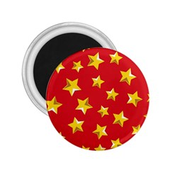 Yellow Stars Red Background Pattern 2 25  Magnets by Sapixe