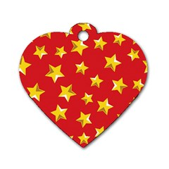 Yellow Stars Red Background Pattern Dog Tag Heart (two Sides) by Sapixe