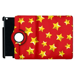 Yellow Stars Red Background Pattern Apple Ipad 3/4 Flip 360 Case