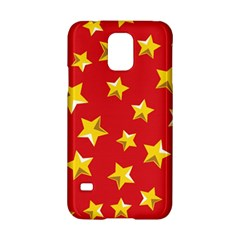 Yellow Stars Red Background Pattern Samsung Galaxy S5 Hardshell Case