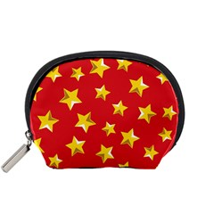 Yellow Stars Red Background Pattern Accessory Pouches (small)  by Sapixe