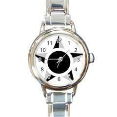 Roundel Of Brazilian Air Force (low Visibility) Round Italian Charm Watch by abbeyz71