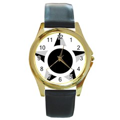 Roundel Of Brazilian Air Force (low Visibility) Round Gold Metal Watch by abbeyz71