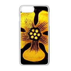 Yellow Flower Stained Glass Colorful Glass Apple Iphone 8 Plus Seamless Case (white)