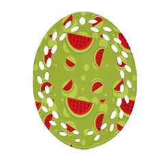 Watermelon Fruit Patterns Oval Filigree Ornament (two Sides) by Sapixe