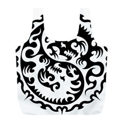 Ying Yang Tattoo Full Print Recycle Bags (l)  by Sapixe
