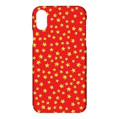Yellow Stars Red Background Apple Iphone X Hardshell Case