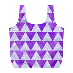 Triangle2 White Marble & Purple Watercolor Full Print Recycle Bags (l)  by trendistuff