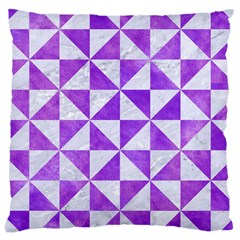 Triangle1 White Marble & Purple Watercolor Large Cushion Case (two Sides) by trendistuff