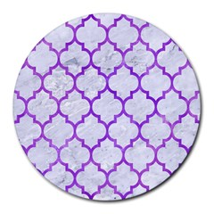 Tile1 White Marble & Purple Watercolor (r) Round Mousepads by trendistuff