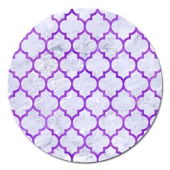 Tile1 White Marble & Purple Watercolor (r) Magnet 5  (round) by trendistuff