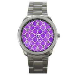 Tile1 White Marble & Purple Watercolor Sport Metal Watch by trendistuff