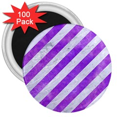 Stripes3 White Marble & Purple Watercolor (r) 3  Magnets (100 Pack) by trendistuff