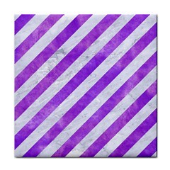 Stripes3 White Marble & Purple Watercolor (r) Face Towel by trendistuff