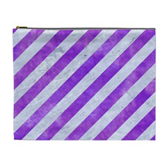 Stripes3 White Marble & Purple Watercolor (r) Cosmetic Bag (xl) by trendistuff