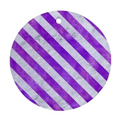 Stripes3 White Marble & Purple Watercolor Ornament (round) by trendistuff