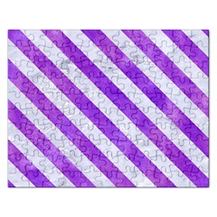 Stripes3 White Marble & Purple Watercolor Rectangular Jigsaw Puzzl by trendistuff