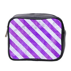 Stripes3 White Marble & Purple Watercolor Mini Toiletries Bag 2 Side by trendistuff