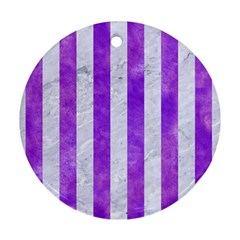 Stripes1 White Marble & Purple Watercolor Round Ornament (two Sides) by trendistuff