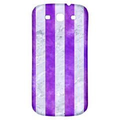 Stripes1 White Marble & Purple Watercolor Samsung Galaxy S3 S Iii Classic Hardshell Back Case by trendistuff
