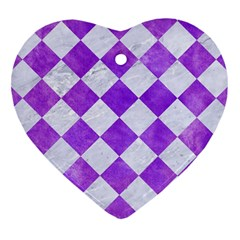 Square2 White Marble & Purple Watercolor Heart Ornament (two Sides) by trendistuff