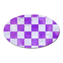 Square1 White Marble & Purple Watercolor Oval Magnet by trendistuff