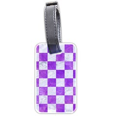 Square1 White Marble & Purple Watercolor Luggage Tags (one Side)  by trendistuff