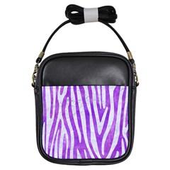 Skin4 White Marble & Purple Watercolor (r) Girls Sling Bags by trendistuff
