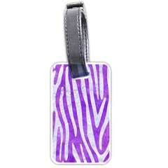 Skin4 White Marble & Purple Watercolor (r) Luggage Tags (two Sides) by trendistuff
