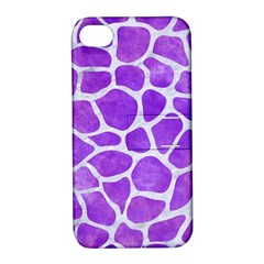 Skin1 White Marble & Purple Watercolor (r) Apple Iphone 4/4s Hardshell Case With Stand by trendistuff