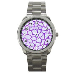 Skin1 White Marble & Purple Watercolor Sport Metal Watch by trendistuff