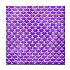 Scales3 White Marble & Purple Watercolor Face Towel by trendistuff