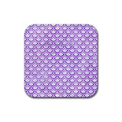 Scales2 White Marble & Purple Watercolor (r) Rubber Square Coaster (4 Pack)  by trendistuff