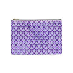 Scales2 White Marble & Purple Watercolor (r) Cosmetic Bag (medium)  by trendistuff