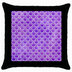 Scales2 White Marble & Purple Watercolor Throw Pillow Case (black) by trendistuff