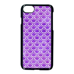Scales2 White Marble & Purple Watercolor Apple Iphone 8 Seamless Case (black)