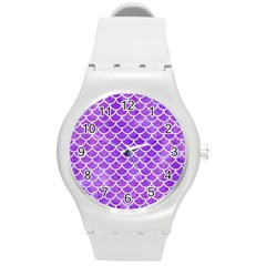 Scales1 White Marble & Purple Watercolor Round Plastic Sport Watch (m) by trendistuff