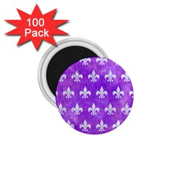 Royal1 White Marble & Purple Watercolor (r) 1 75  Magnets (100 Pack)  by trendistuff