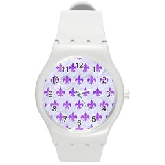Royal1 White Marble & Purple Watercolor Round Plastic Sport Watch (m) by trendistuff