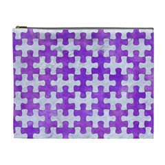 Puzzle1 White Marble & Purple Watercolor Cosmetic Bag (xl) by trendistuff