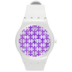 Puzzle1 White Marble & Purple Watercolor Round Plastic Sport Watch (m) by trendistuff