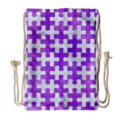 Puzzle1 White Marble & Purple Watercolor Drawstring Bag (large) by trendistuff