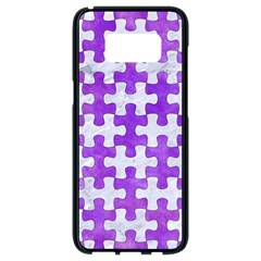 Puzzle1 White Marble & Purple Watercolor Samsung Galaxy S8 Black Seamless Case