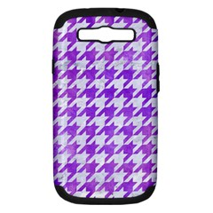 Houndstooth1 White Marble & Purple Watercolor Samsung Galaxy S Iii Hardshell Case (pc+silicone) by trendistuff