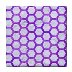 Hexagon2 White Marble & Purple Watercolor (r) Face Towel by trendistuff