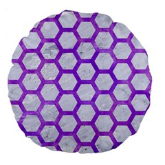 Hexagon2 White Marble & Purple Watercolor (r) Large 18  Premium Flano Round Cushions by trendistuff